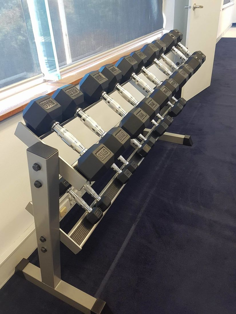 Weights rack at Prime Physiotherapy East Doncaster